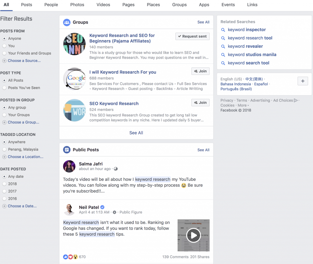 Facebook Search and Groups