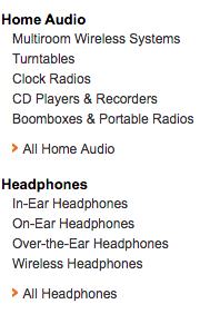Amazon left panel category