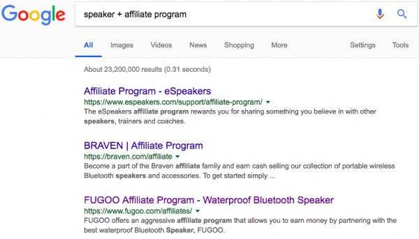 Google search on speaker affiliate programs