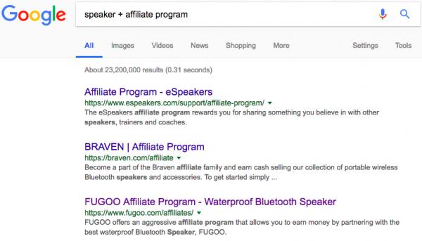 Google search on speaker affiliate programs