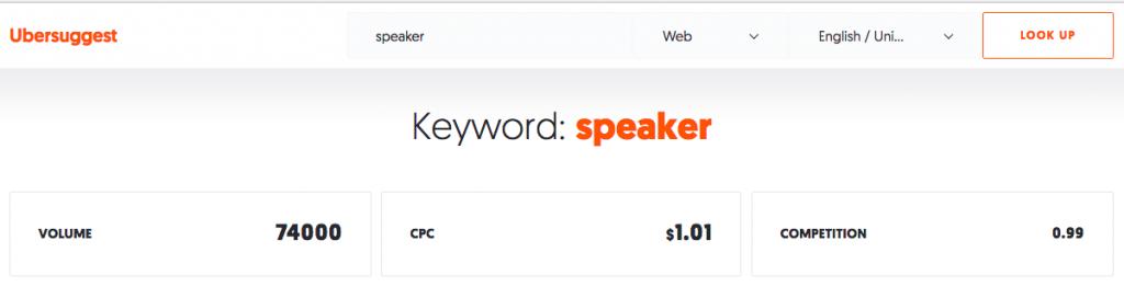 Ubersuggest for keyword Speaker